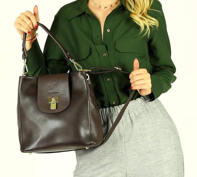 Elegancka shopperka c. brązowa MARCO MAZZINI  s269d