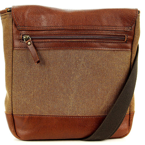Jasnobrązowa torba skórzana i z tkaniny bawełnianej DAAG Clou Next 10