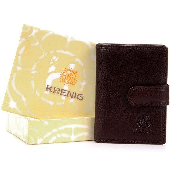 KRENIG Classic 12081 brązowe skórzane etui na wizytówki