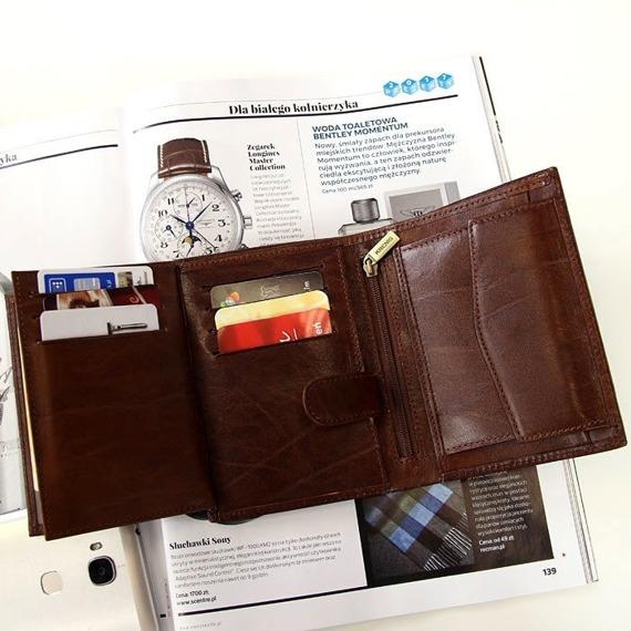 KRENIG El Dorado 11029 brązowy portfel skórzany męski w pudełku