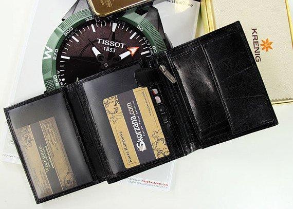KRENIG El Dorado 11040 - ESKLUZYWNY czarny SKÓRZANY PORTFEL MĘSKI w pudełku