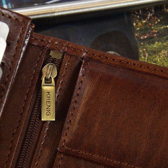 KRENIG El Dorado 11090 - ESKLUZYWNY brązowy SKÓRZANY PORTFEL MĘSKI w pudełku