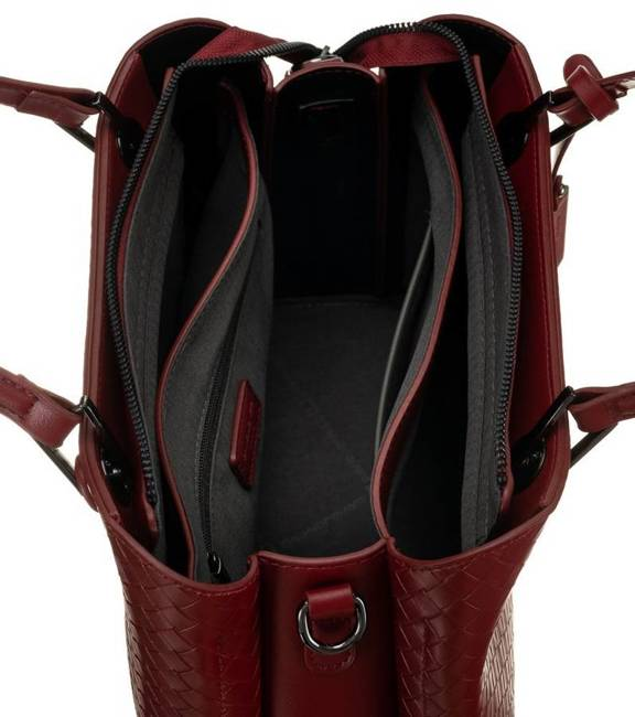 Kuferek bordowy wzór pleciony David Jones CM6208A DARK RED
