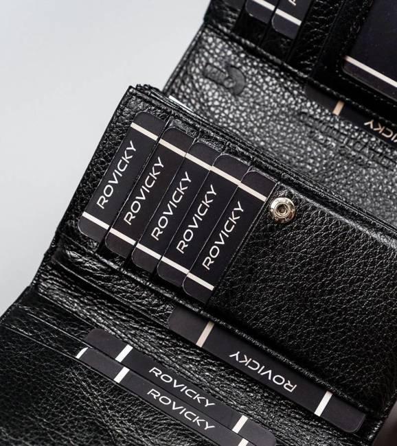 Lakierowany portfel damski czarny Lorenti 76112-SH NAPIS BLACK