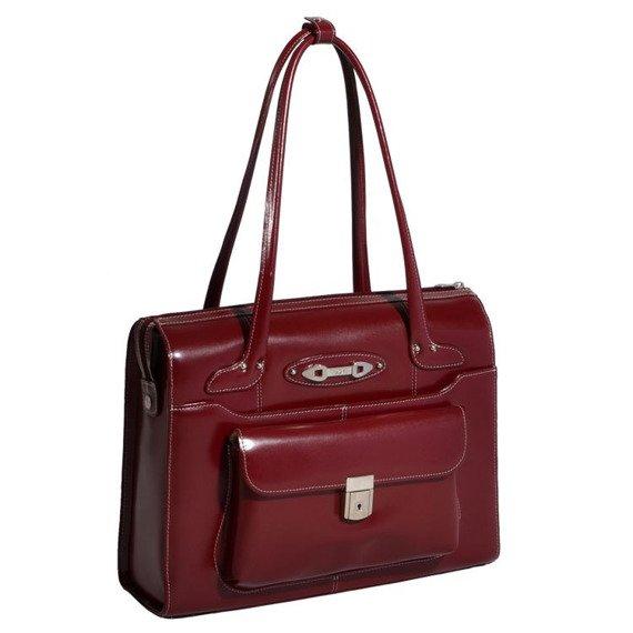 """Mcklein Wenonah 96666 skórzana torba na laptopa 15,4"""" czerwona"""