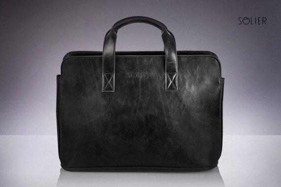 Męska torba na ramię, torba na laptop SOLIER S05 czarna