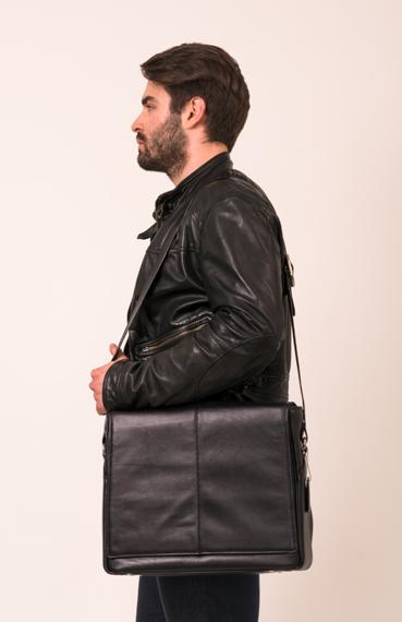"Męska torba skórzana na laptopa 15.6"" Mcklein San Francesco 45355 czarna"