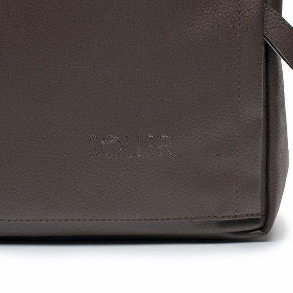 Męski plecak miejski na laptopa Solier SR01 FORRES ciemny brąz