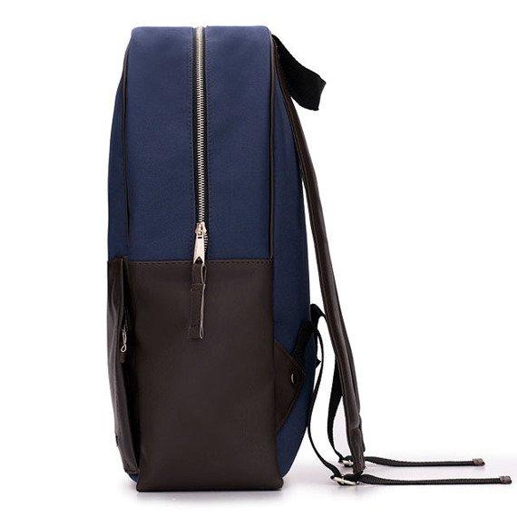 Męski plecak miejski na laptopa Solier SR01 FORRES granatowo-brązowy