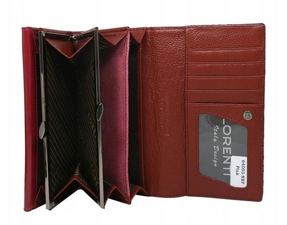 Opalizujący damski portfel skórzany 64003-NBF bordowy