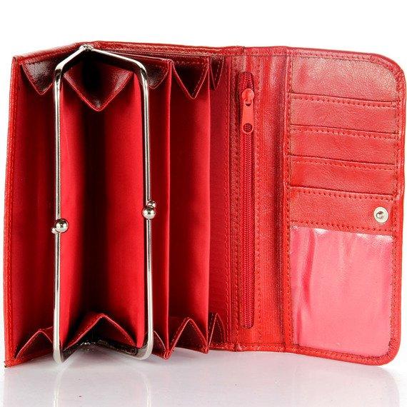 P14 czerwony portfel skórzany damski