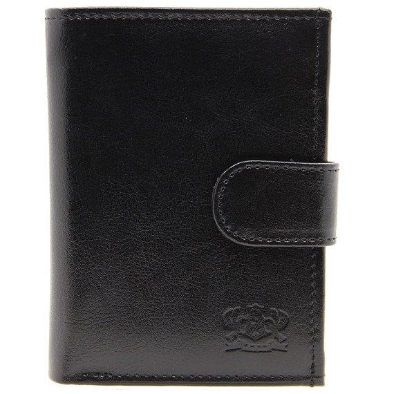 P149 czarny skórzany portfel męski