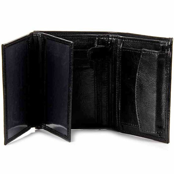 P165 czarny skórzany portfel męski