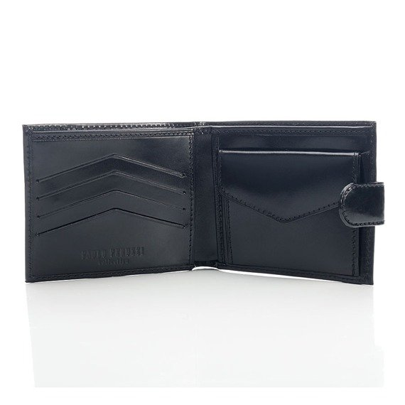 PAOLO PERUZZI ekskluzywny skórzany portfel męski w pudełku czarny GA55