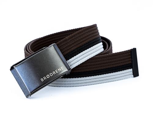Pasek męski do spodni parciany Brodrene P11G brązowo-czarno-biały