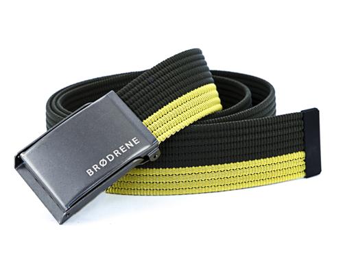 Pasek męski do spodni parciany Brodrene P16G oliwkowo-żółty
