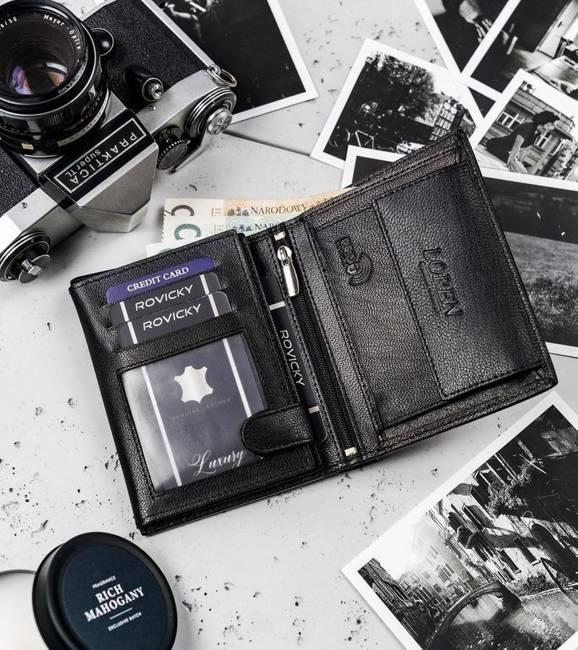 Pionowy portfel męski czarny Loren N4-NYC-1380 BLACK