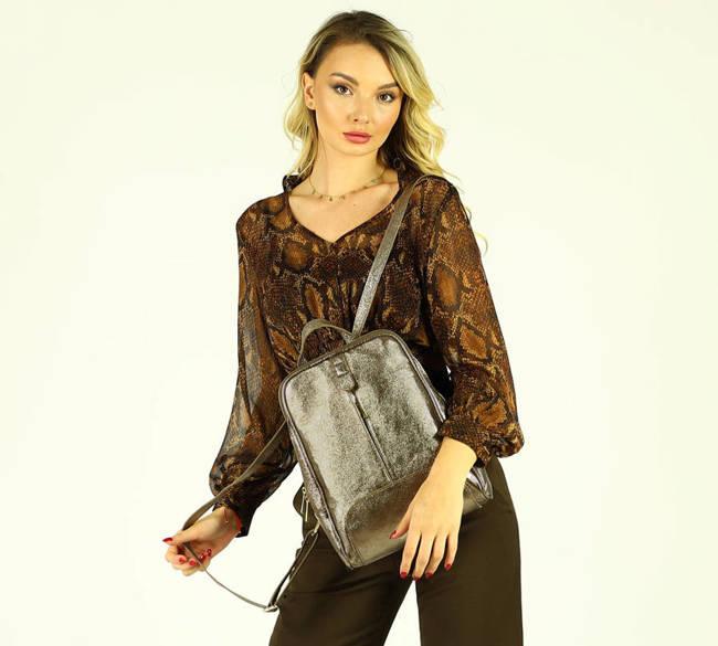 Plecak damski brązowo-złoty MARCO MAZZINI pl30o
