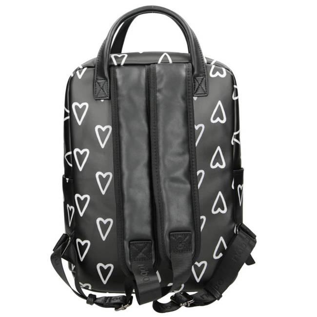 Plecak damski, młodzieżowy czarny w serduszka Nobo  NBAG-J4260-CM20
