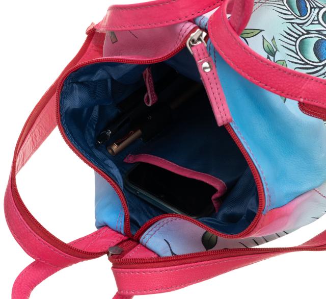 Plecak damski różowy skórzany ręcznie malowany  LB-1902-ART-05 PINK