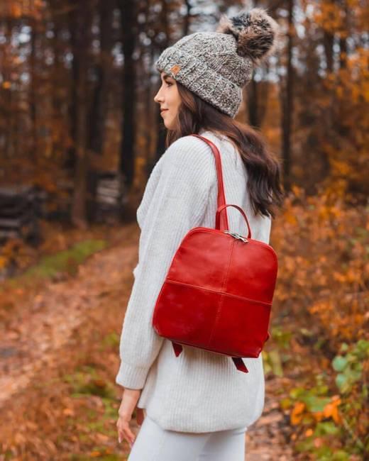 Plecak skórzany damski DAN-A T65 czerwony