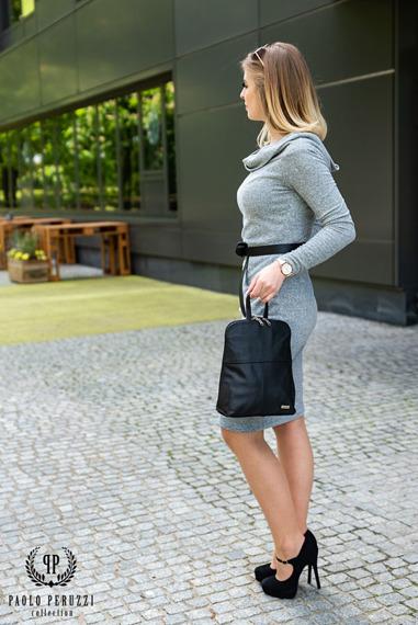 Plecak skórzany damski Paolo Peruzzi B-15 czarny