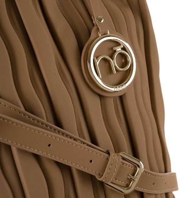 Plisowany shopper brązowy Nobo NBAG-K3590-C015