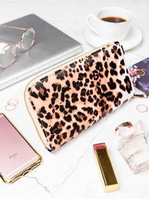 Pojemny portfel damski brązowo - biały Milano Design