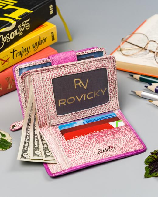Portfel damski różowy Rovicky R-N109-ART-15 PINK