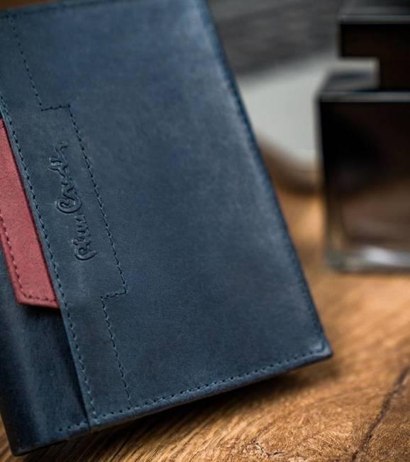 Portfel granatowy z czerwoną wstawką Pierre Cardin 326 VO02 BLU+ROSSO