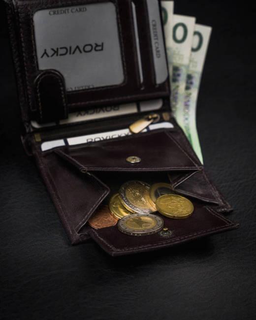 Portfel męski brązowy z czarna wstawką Rovicky 1520-03-BOR-1188 BRO
