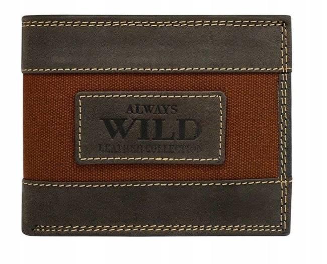 Portfel męski czarno-brązowy Always Wild N992-JEANS BROWN
