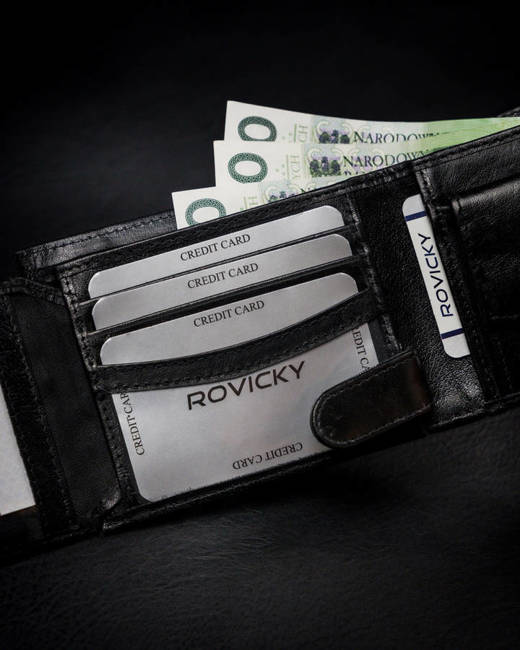 Portfel męski czarny Rovicky 1544-03-BOR-1324 BLA