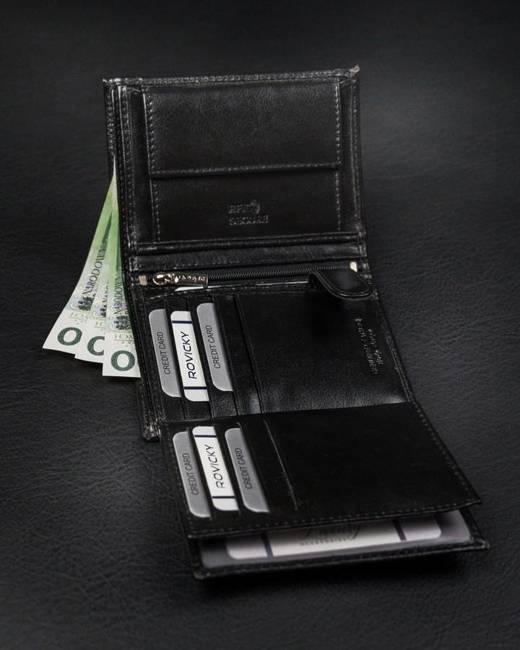 Portfel męski czarny Rovicky N4-BSR-VT-BLACK