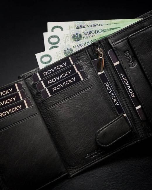Portfel męski czarny Rovicky N62L-PZ-CCR-RFID-BLA