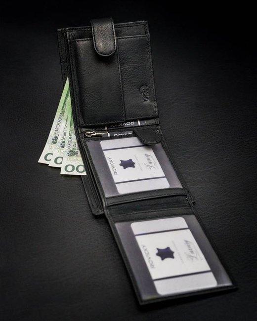 Portfel męski czarny Rovicky N992L-PZ-CCR-RFID-BL