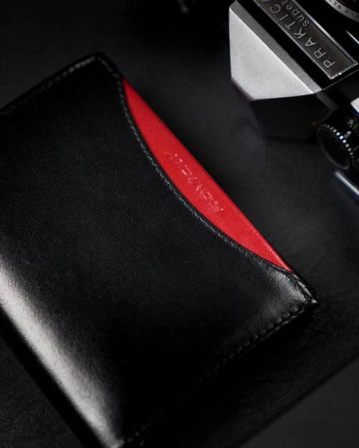Portfel męski czarny z czerwoną wstawką Rovicky 1537-03-BOR-1225 BLA