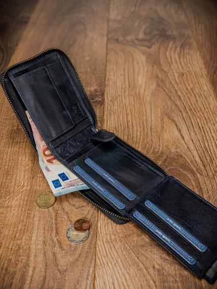 Portfel męski skórzany RFID Buffalo Wild granatowy