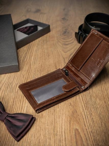 Portfel męski skórzany RFID Pierre Andreus brązowy