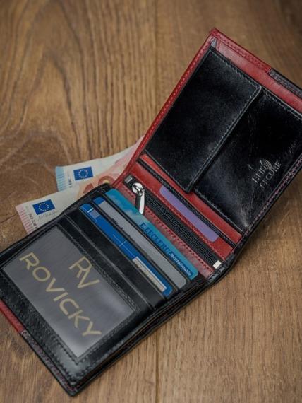 Portfel męski skórzany RFID Rovicky N01-VT2 czarno-czerwony