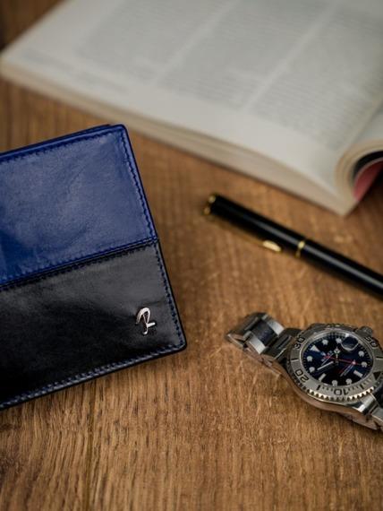 Portfel męski skórzany RFID Rovicky N01-VT2 czarno-niebieski
