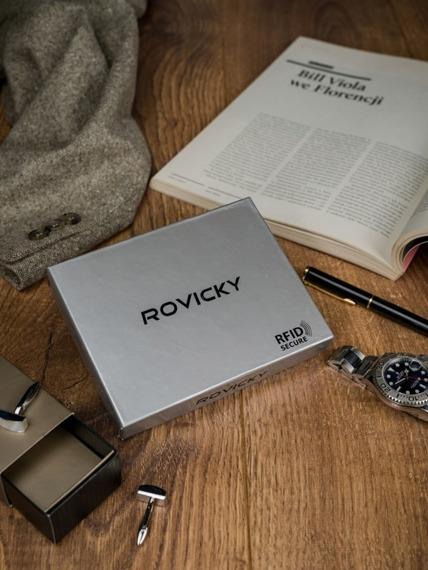 Portfel męski skórzany RFID Rovicky N01L-VT2 czarno-niebieski