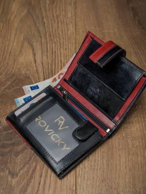 Portfel męski skórzany RFID Rovicky N4L-VT2 czarno-czerwony