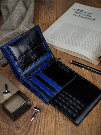 Portfel męskie skórzany RFID Rovicky N4-VT2 czarno-niebieski