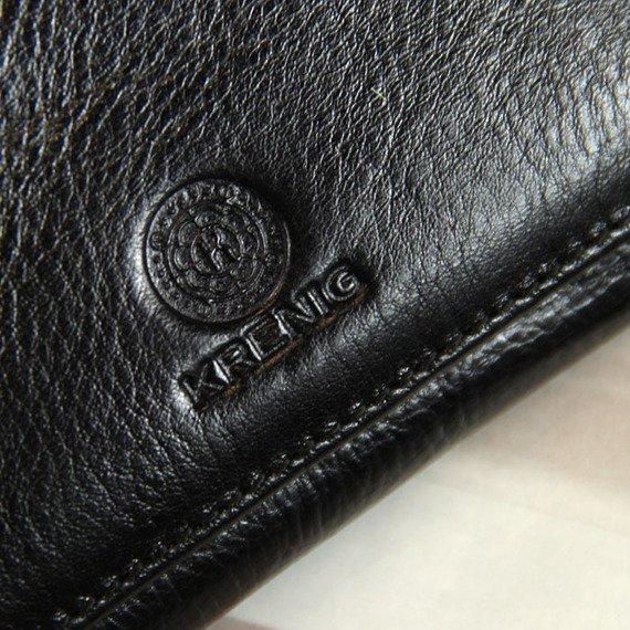 Portmonetka skórzana damska KRENIG Classic 12063 czarna w pudełku