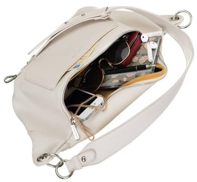 Saszetka damska biała nerka David Jones CM5707 CREMMA WHITE