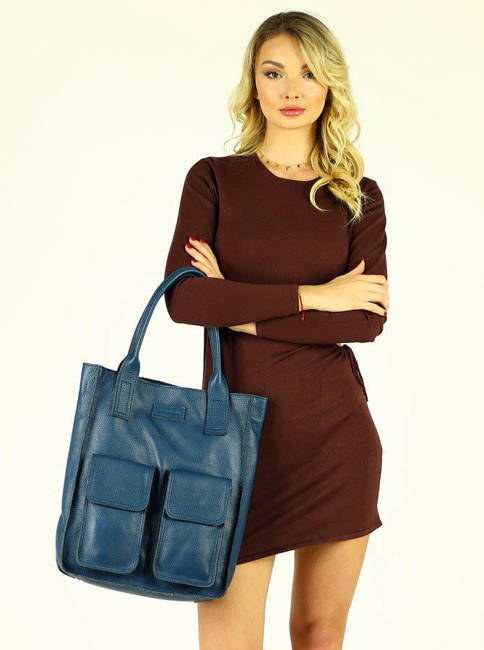 Shopper bag MARCO MAZZINI morski zielony s131e