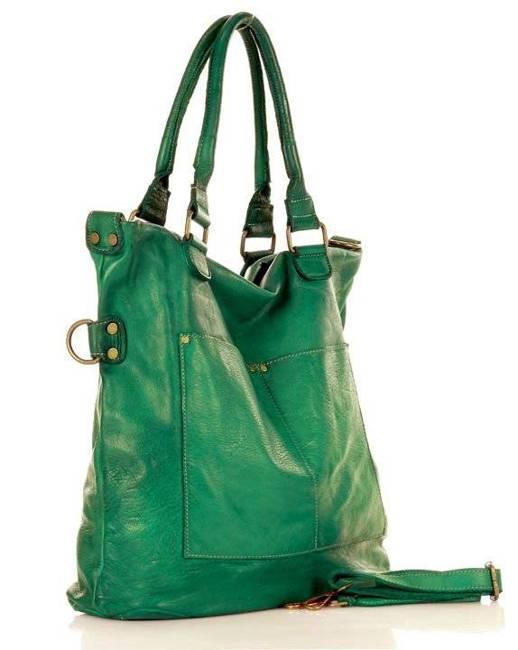 Shopper bag MARCO MAZZINI turkusowa zieleń v7r