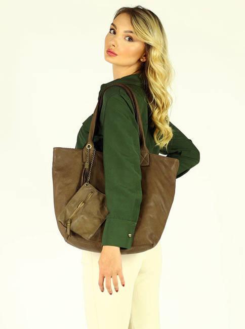 Shopper bag damski MARCO MAZZINI ciemny beż khaki v144c