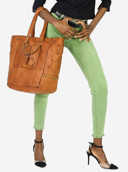 Shopper bag kamelowy MARCO MAZZINI  v161c